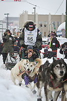 Lachlan Clarke leaves the 2011 Iditarod ceremonial start line in downtown Anchorage, during the 2012 Iditarod..Jim R. Kohl/Iditarodphotos.com