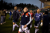 "March 14, 2009. Cary, NC.. The Carolina Railhawks went home in foul weather with a  1-0 victory over the New England Revolution of the MLS, in the inaugural ""Community Shield"" match and their first professional outing under new coach, Martin Rennie. . The Revolution and Railhawks take the field."