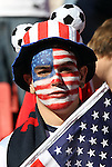 18 JUN 2010:  United States fan in the stands with flag.  The Slovenia National Team played the United States National Team at Ellis Park Stadium in Johannesburg, South Africa in a 2010 FIFA World Cup Group C match.