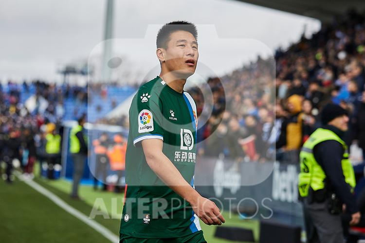 Wu Lei of RCD Espanyol during La Liga match between CD Leganes and RCD Espanyol at Butarque Stadium in Leganes, Spain. December 22, 2019. (ALTERPHOTOS/A. Perez Meca)