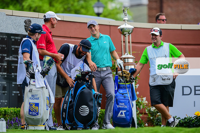 Jordan Spieth (USA) shares a laugh with Matt Kuchar (USA) on the number 1 tee box before the round 1 of the Dean &amp; Deluca Invitational, The Colonial, Ft. Worth, Texas, USA. 5/26/2016.<br /> Picture: Golffile | Ken Murray<br /> <br /> <br /> All photo usage must carry mandatory copyright credit (&copy; Golffile | Ken Murray)