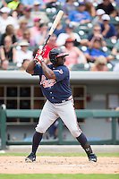 Adonis Garcia (18) of the Gwinnett Braves at bat against the Charlotte Knights at BB&T BallPark on July 3, 2015 in Charlotte, North Carolina.  The Braves defeated the Knights 11-4 in game one of a day-night double header.  (Brian Westerholt/Four Seam Images)