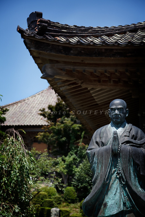Sado island, August 21 2010 - Nichiren statue in the Kopon-ji temple, Mano town. Nichiren was the founder of Nichiren buddhism in japan in the 13th century. He was banished to Sado by the government in 1271 and was established in Kopon-ji during his stay on the island.