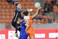 Houston, TX - Sunday Sept. 25, 2016: Haley Kopmeyer, Carli Lloyd during a regular season National Women's Soccer League (NWSL) match between the Houston Dash and the Seattle Reign FC at BBVA Compass Stadium.