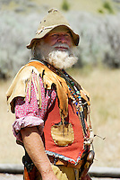 A renactor wears frontier clothing during Bannack Days in Bannack, Montana.