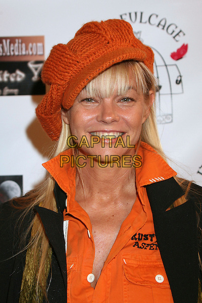 "JULIE McCULLOUGH.""Hats Off For Cancer"" Benefit Party at Sugar Boutique, Hollywood, California, USA..May 9th, 2007.headshot portrait orange knitted hat .CAP/ADM/BP.©Byron Purvis/AdMedia/Capital Pictures"
