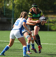 20190928 - Neder Over Hembeek, BELGIUM : Dendermonde's  player is pictured trying not to get tackled during the female rugby match between the Dendermonde RC Women  and AAC Amsterdam Rugby Women, this is the final of the BeNeCup  on Saturday 28th September 2019 at the Nelson Mandela Stadium , Belgium. PHOTO SPORTPIX.BE | SEVIL OKTEM