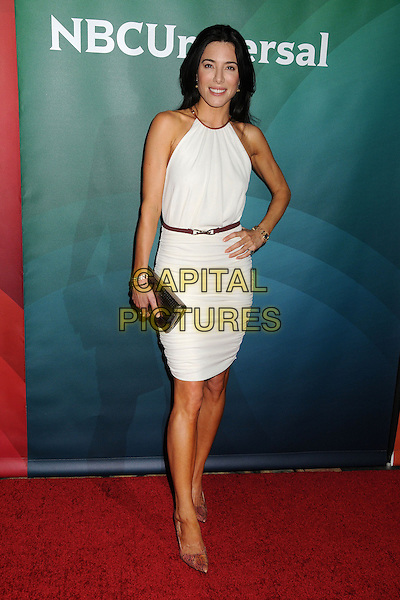 Jaime Murray.NBC Universal Summer Press Day 2013 held at the The Langham Huntington Hotel & Spa, Pasadena, California, USA..April 22nd, 2013.full length dress white sleeveless pink shoes belt hand on hip clutch bag gold.CAP/ADM/BP.©Byron Purvis/AdMedia/Capital Pictures