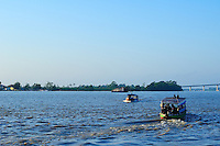 Typical passenger boats on Suriname River Paramaribo