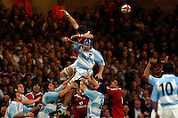 2005 British & Irish Lions vs Argentina, at The Millennium Stadium, Cardiff, WALES played on  23.05.2005, Ben Kay, deflects the line out ball..Photo  Peter Spurrier. .email images@intersport-images...