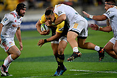 9th June 2017, Westpac Stadium, Wellington, New Zealand; Super Rugby; Hurricanes versus Chiefs;  Hurricanes' Ngani Laumape (L) is tackled by Chiefs' Nathan Harris