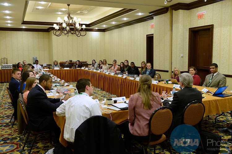 15 JAN 2013: The Division I Student-Athlete Advisory Committee Meeting during the 2013 NCAA Convention held at the Gaylord Texan in Grapevine, TX. Stephen Nowland/NCAA Photos.Pictured: Mark Emmert