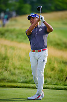 Shugo Imahira (JPN) watches his tee shot on 12 during Thursday's round 1 of the 117th U.S. Open, at Erin Hills, Erin, Wisconsin. 6/15/2017.<br /> Picture: Golffile | Ken Murray<br /> <br /> <br /> All photo usage must carry mandatory copyright credit (&copy; Golffile | Ken Murray)