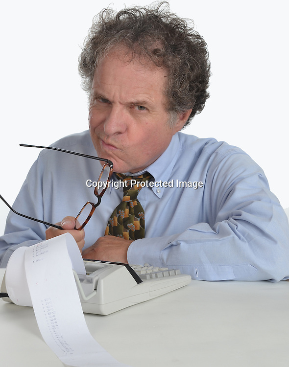 Man working on accounting