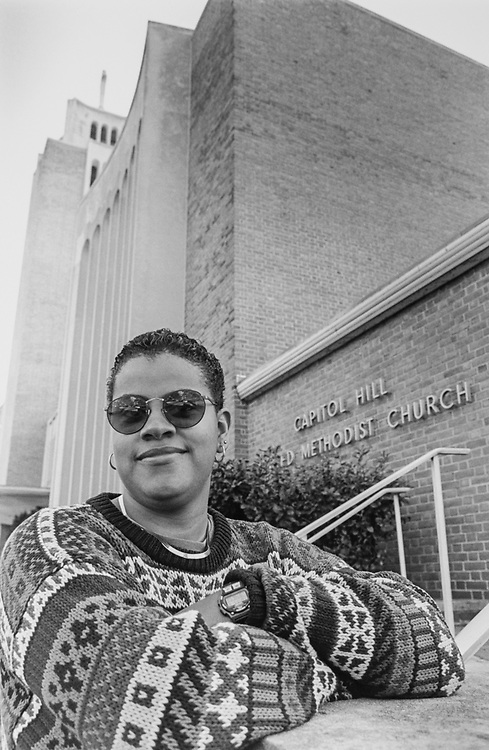 Melissa Bradley, exercise director of Tedi outside Capitol Hill United Methodist Church, Seward SQ, SE, one location where TEDI (the entrepreneurial devel institute) Seminars held. (Photo by Maureen Keating/CQ Roll Call via Getty Images)
