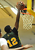 Isaiah Bien-Aise #12 of Westbury goes up for a slam dunk during a Nassau County AA-2 varsity boys basketball game against host Baldwin High School on Tuesday, Jan. 9, 2018.