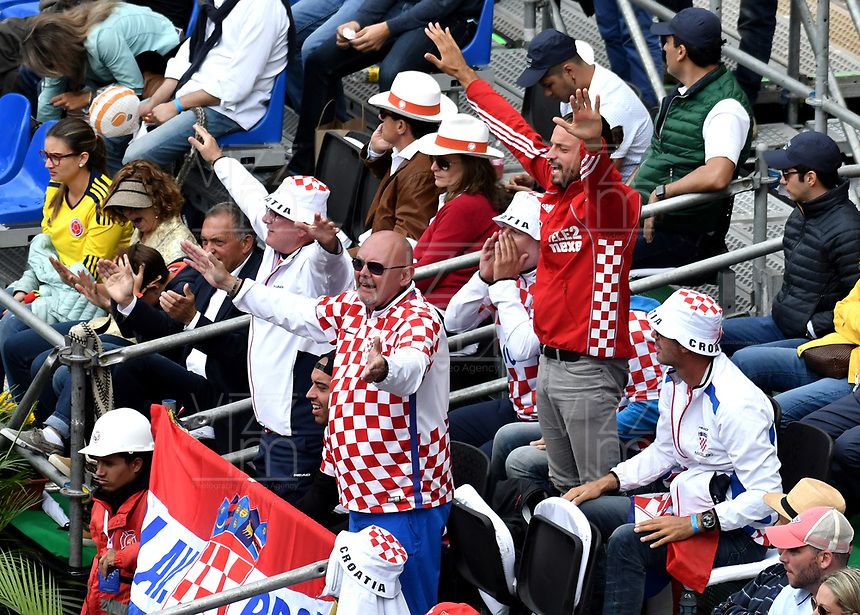 BOGOTA - COLOMBIA – 16 – 09 -2019: Fanáticos de Croacia, durante partido de la Copa Davis entre los equipos de Colombia y Croacia, partidos por el ascenso al Grupo Mundial de Copa Davis por BNP Paribas, en la Plaza de Toros La Santamaria en la ciudad de Bogota. / Fans of Croatia, during a Davis Cup match between the teams of Colombia and Croatia, match promoted to the World Group Davis Cup by BNP Paribas, at the La Santamaria Ring Bull in Bogota city. / Photo: VizzorImage / Luis Ramirez / Staff.