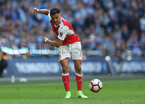April 23rd 2017, Wembley Stadium, London England; FA Cup football semi-final, Arsenal versus Manchester City; Alexis Sanchez of Arsenal passing the ball