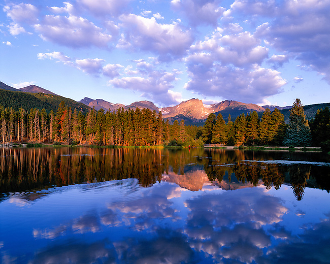 early morning reflection at Sprague Lake, view of the Continental Divide, Rocky Mountain National Park, Colorado, USA