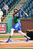 Seuly Matias of the West Lexington Legends swings at a pitch during the home run derby as part of the All Star Game festivities at First National Bank Field on June 19, 2018 in Greensboro, North Carolina.(Tony Farlow/Four Seam Images)