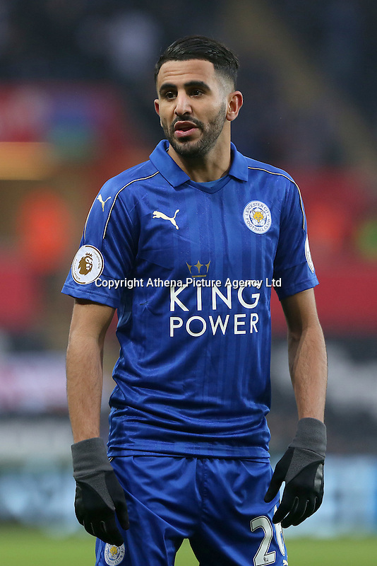 Riyad Mahrez of Leicester City prior to kick off of the Premier League match between Swansea City and Leicester City at The Liberty Stadium, Swansea, Wales, UK. Sunday 12 February 2017