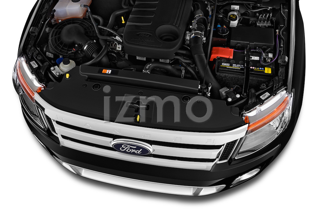 Car Stock2014 Ford Ranger Limited 4 Door Pickup Engine high angle detail view