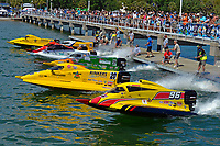Chris Rinker (#52), Tyler Welch (#95), Jeff Reno (#34), Terry Rinker (#10), Mark Welch (#59), Ashton Rinker (#20) and Fred Durr (#96) at the start dock.   (class F-150)