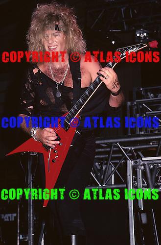 Lead Guitarist Robbin Crosby of RATT Performs in New York City in 1986.Photo Credit: Eddie Malluk/AtlasIcons.com