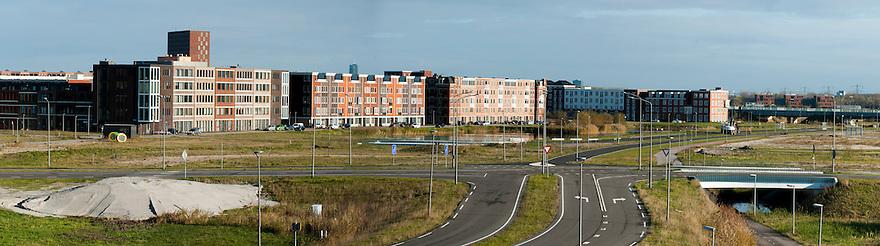 Nederland, Almere, 25 nov 2013<br /> Almere de Poort, westelijk deel van Almere waar uitbreidingsplannen zijn met wonen in / op het water richting Pampus.<br /> Samengesteld panorama<br /> Foto: Michiel Wijnbergh