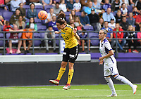 20190810 - ANDERLECHT, BELGIUM : LSK's Isabelle Bachor pictured winning the header from Anderlecht's Laura Rus (r) during the female soccer game between the Belgian RSCA Ladies – Royal Sporting Club Anderlecht Dames  and the Norwegian LSK Kvinner Fotballklubb ladies , the second game for both teams in the Uefa Womens Champions League Qualifying round in group 8 , saturday 10 th August 2019 at the Lotto Park Stadium in Anderlecht  , Belgium  .  PHOTO SPORTPIX.BE for NTB NO | DAVID CATRY