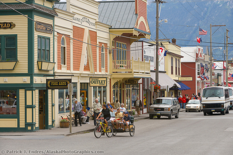 Downtown street of historic gold rush town of Skagway, Alaska, located at the end of the Lynn Canal on the Alaska Panhandle. Favorite tourist destination for cruise ships.