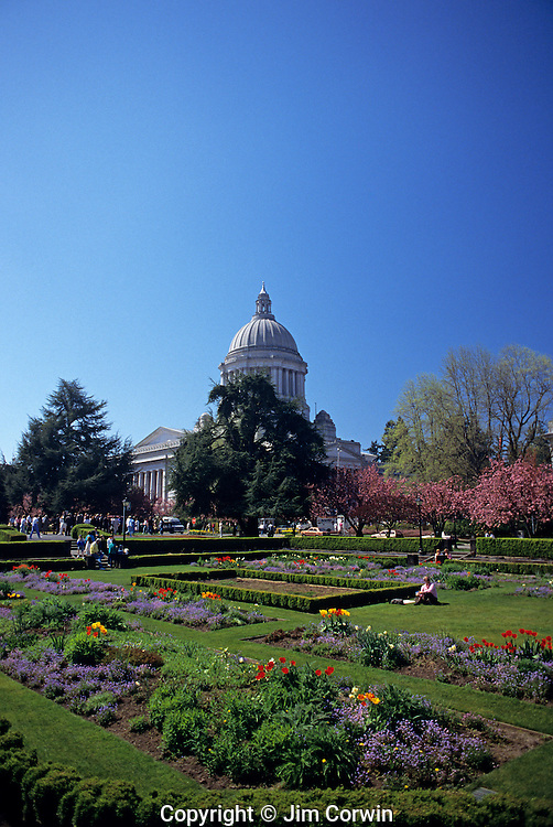 Beautiful gardens at the state Capitol grounds State Capital, Olympia, Washington USA..