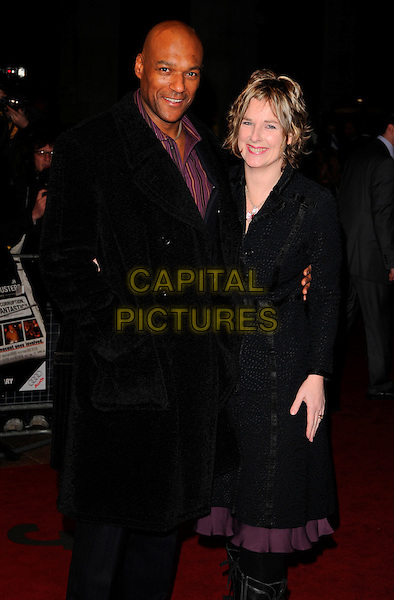 """COLIN SALMON & FIONA HAWTHORNE.World Premiere of """"The Bank Job"""" held at the Odeon West End cinema, Leicester Square, London, England, February 18th 2008..half length black coat married husband wife.CAP/CAN.?Can Nguyen/Capital Pictures"""
