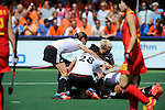 The Hague, Netherlands, June 01: Players of Germany celebrate a goal before the desicion was withdrawn by the umpires during the field hockey group match (Women - Group B) between Germany and China on June 1, 2014 during the World Cup 2014 at GreenFields Stadium in The Hague, Netherlands. Final score 1:1 (0:0) (Photo by Dirk Markgraf / www.265-images.com) *** Local caption ***