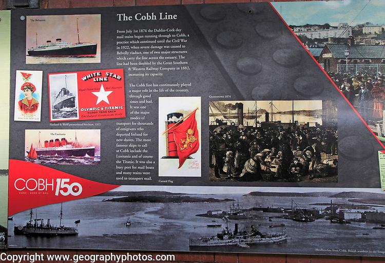The Cobh Line railway line information display,  train station, Cobh, County Cork, Ireland, Irish republic