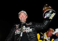 Nov 14, 2010; Pomona, CA, USA; NHRA pro stock driver Shane Gray celebrates after winning the Auto Club Finals at Auto Club Raceway at Pomona. Mandatory Credit: Mark J. Rebilas-