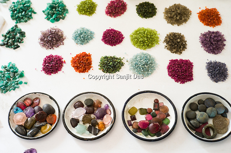 Different kinds of gem stones are seen at the workshop at The Gem Palace in Jaipur, Rajasthan, India.