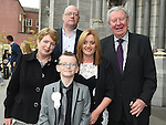TJ Reilly from St Oliver's school who received his first holy communion at St Peters chuch pictured with parents Liam and Tracey and Grandparents Liam and Mary Reilly. Photo:Colin Bell/pressphotos.ie
