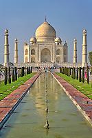 Taj Mahal, a mausoleum located in Agra, India, built by Mughal Emperor Shah Jahan in memory of his favorite wife, Mumtaz Mahal.