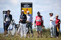 Waiting for the fairway to clear, have a natter / tell a tale - Bill Haas (USA) has a captive audience, during Round One of the 145th Open Championship, played at Royal Troon Golf Club, Troon, Scotland. 14/07/2016. Picture: David Lloyd | Golffile.<br /> <br /> All photos usage must carry mandatory copyright credit (&copy; Golffile | David Lloyd)
