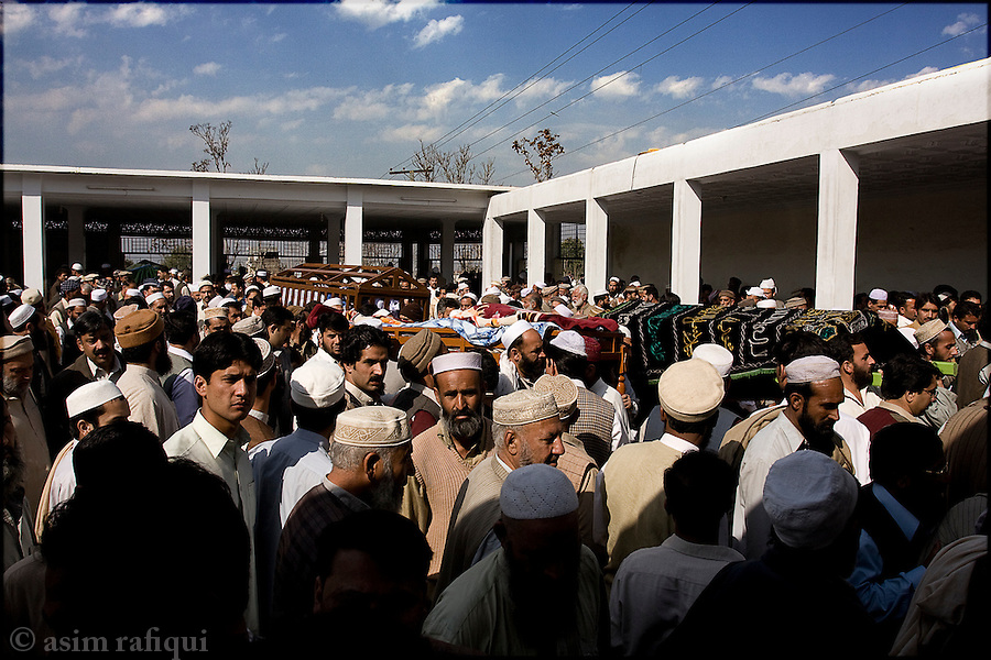 Funeral for the victims of militant violence - islamic militants have been carrying out a terror campaign in the region of Swat targeting primarily government and army targets, but inevitably causing a large number of civilian casualties