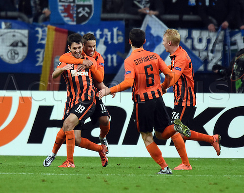 25.02.2016. Gelsenkirchen, Germany. Europa League Round of 32 Second Leg soccer match between Schalke 04 and FC Shakhtar Donetsk in the Veltins Arena in Gelsenkirchen, Germany.  Donetsk celebrate their goal for 2:0. from scorer Ferreyra (19)