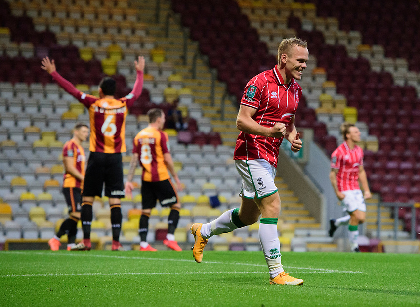 Lincoln City's Anthony Scully celebrates scoring his side's second goal<br /> <br /> Photographer Chris Vaughan/CameraSport<br /> <br /> Carabao Cup Second Round Northern Section - Bradford City v Lincoln City - Tuesday 15th September 2020 - Valley Parade - Bradford<br />  <br /> World Copyright © 2020 CameraSport. All rights reserved. 43 Linden Ave. Countesthorpe. Leicester. England. LE8 5PG - Tel: +44 (0) 116 277 4147 - admin@camerasport.com - www.camerasport.com