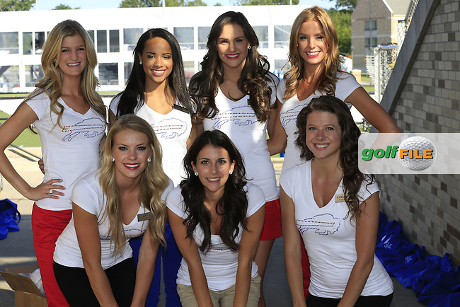 The Buffalo Jills Cheerleaders attend a training camp for the Buffalo Bills NFL Team at John Fisher College during Tuesday's Practice Day of the 95th US PGA Championship 2013 held at Oak Hills Country Club, Rochester, New York.<br /> 6th August 2013.<br /> Picture: Eoin Clarke www.golffile.ie
