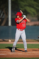AZL Angels Erik Rivera (21) at bat during an Arizona League game against the AZL D-backs on July 20, 2019 at Salt River Fields at Talking Stick in Scottsdale, Arizona. The AZL Angels defeated the AZL D-backs 11-4. (Zachary Lucy/Four Seam Images)