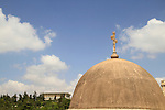 Israel, Jerusalem, the dome of the Greek Orthodox Church of the Holy Cross, the Knesset is in the background