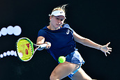 9th January 2018, Sydney Olympic Park Tennis Centre, Sydney, Australia; Sydney International Tennis, round 1; Daria Gavrilova (AUS) hits a forehand in her match against Olivia Rogowska (AUS)