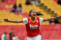 BOGOTA - COLOMBIA - 26-02-2017: Oriana Altuve, jugadora de Independiente Santa Fe, celebra el gol anotado a Atletico Huila, durante partido por la fecha 2 entre Independiente Santa Fe y Atletico Huila, de la Liga Femenina Aguila 2017, en el estadio Nemesio Camacho El Campin de la ciudad de Bogota. / Oriana Altuve, player of Independiente Santa Fe, celebrates a goal scoring to Atletico Huila, during a match of the date 2 between Independiente Santa Fe and Atletico Huila, for the Liga Femenina Aguila 2017 at the Nemesio Camacho El Campin Stadium in Bogota city, Photo: VizzorImage / Luis Ramirez / Staff.