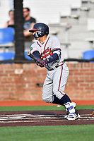 Danville Braves catcher William Contreras (24) swings at a pitch during a game against the  Johnson City Cardinals at TVA Credit Union Ballpark on July 23, 2017 in Johnson City, Tennessee. The Cardinals defeated the Braves 8-5. (Tony Farlow/Four Seam Images)