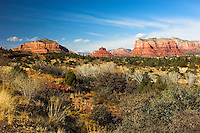 View of red rocks near Oak Creek, Arizona, USA from Highway 179